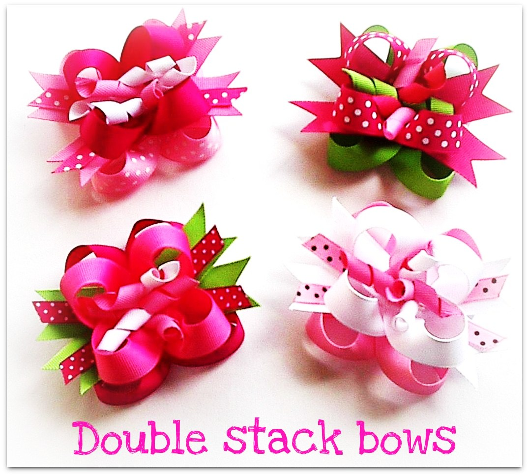 Double stack bows how to make hair bows w ribbon spikes how to make hair bows instructions bowkit double stack bows baditri Image collections